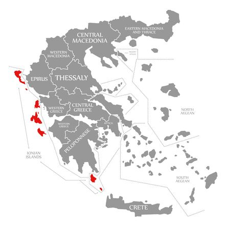 Ionian Islands red highlighted in map of Greece