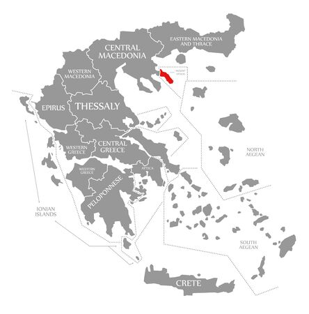Mount Athos red highlighted in map of Greece