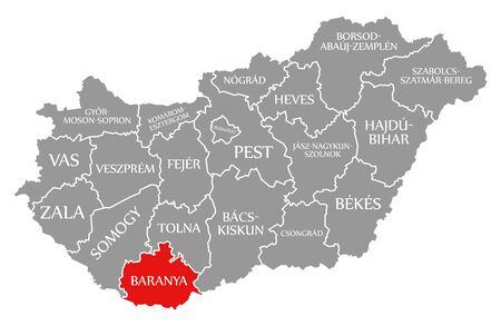 Baranya red highlighted in map of Hungary