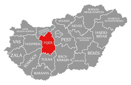 Fejer red highlighted in map of Hungary