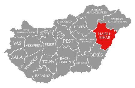 Hajdu-Bihar red highlighted in map of Hungary