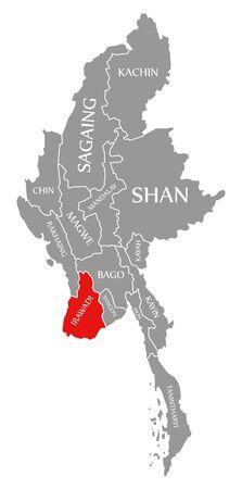Irawadi red highlighted in map of Myanmar Stock fotó