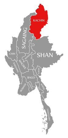 Kachin red highlighted in map of Myanmar Stock fotó