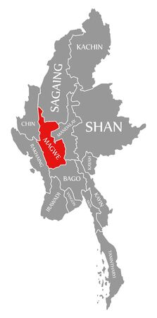 Magwe red highlighted in map of Myanmar