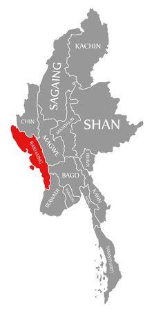 Rakhaing red highlighted in map of Myanmar Stock fotó