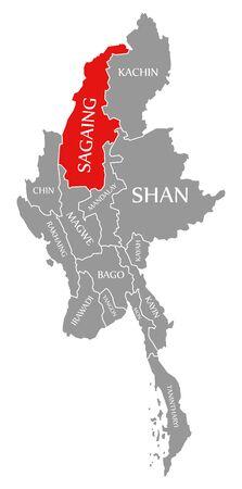 Sagaing red highlighted in map of Myanmar Stock fotó