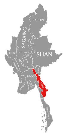Kayin red highlighted in map of Myanmar Stock fotó