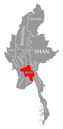 Bago red highlighted in map of Myanmar Stock fotó