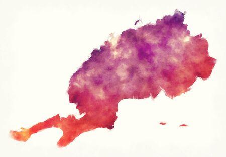 Pinar del Rio province watercolor map of Cuba