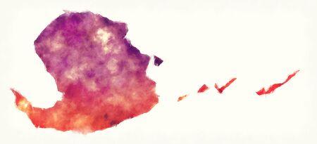 Isla de pinos province watercolor map of Cuba