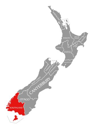 Southland red highlighted in map of New Zealand