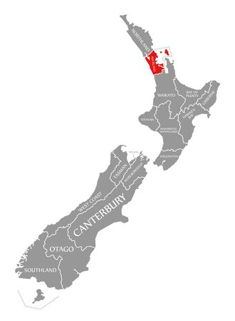 Auckland red highlighted in map of New Zealand Zdjęcie Seryjne