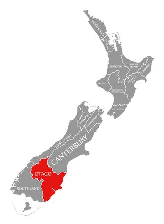 Otago red highlighted in map of New Zealand