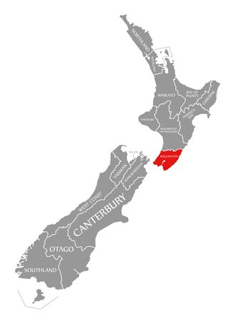 Wellington red highlighted in map of New Zealand