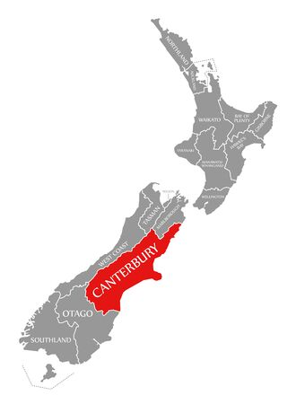 Canterbury red highlighted in map of New Zealand Zdjęcie Seryjne