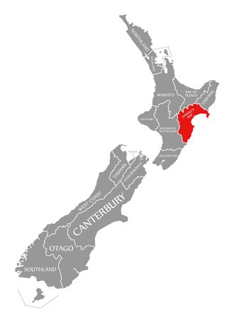 Hawkes Bay red highlighted in map of New Zealand