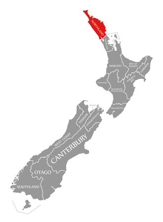Northland red highlighted in map of New Zealand Zdjęcie Seryjne