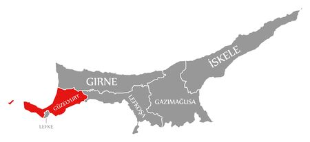 Guzelyurt red highlighted in map of Northern Cyprus