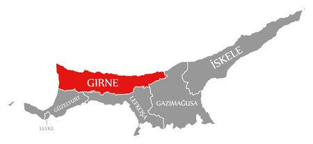 Girne red highlighted in map of Northern Cyprus Фото со стока