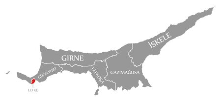 Lefke red highlighted in map of Northern Cyprus