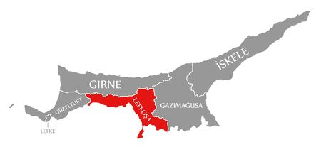 Lefkosa red highlighted in map of Northern Cyprus