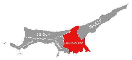 Gazimagusa red highlighted in map of Northern Cyprus