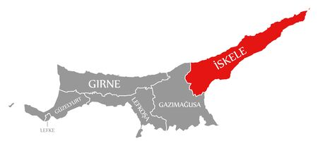 Iskele red highlighted in map of Northern Cyprus