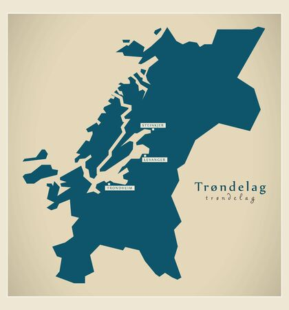 Modern Map - Trondelag Norway vector illustration