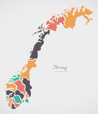 Norway Map with states and modern round shapes including new Trondelag state