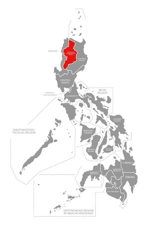 Cordillera Administrative Region red highlighted in map of Philippines