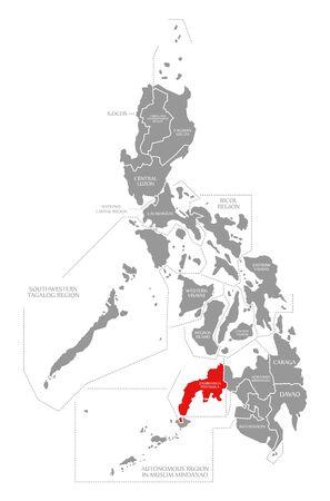 Zamboanga Peninsula red highlighted in map of Philippines 写真素材