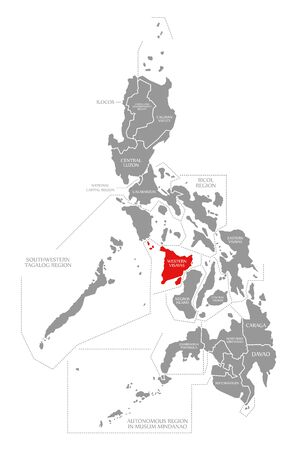 Western Visayas red highlighted in map of Philippines