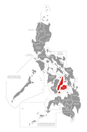 Central Visayas red highlighted in map of Philippines 写真素材