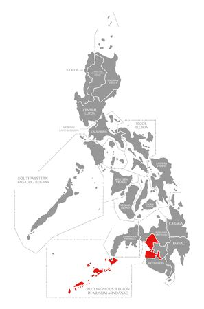 Autonomous Region in Muslim Mindanao red highlighted in map of Philippines