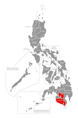 Soccsksargen red highlighted in map of Philippines