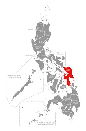 Eastern Visayas red highlighted in map of Philippines 写真素材
