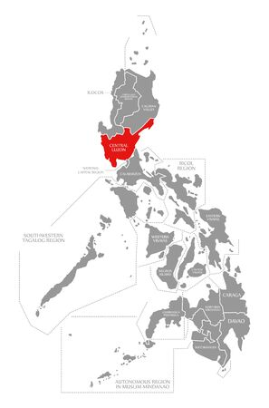 Central Luzon red highlighted in map of Philippines 写真素材
