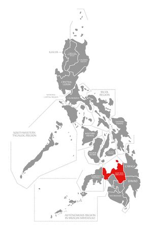 Northern Mindanao red highlighted in map of Philippines