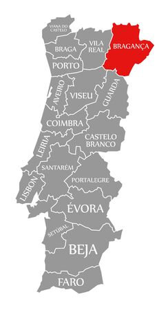 Braganca red highlighted in map of Portugal