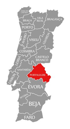 Portalegre red highlighted in map of Portugal