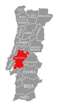 Santarem red highlighted in map of Portugal 写真素材