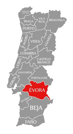 Evora red highlighted in map of Portugal