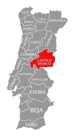 Castelo Branco red highlighted in map of Portugal