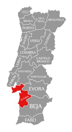 Setubal red highlighted in map of Portugal 写真素材