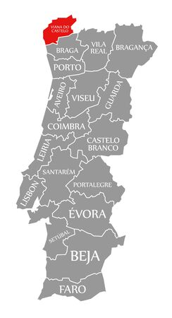 Viana do Castelo red highlighted in map of Portugal