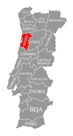 Aveiro red highlighted in map of Portugal