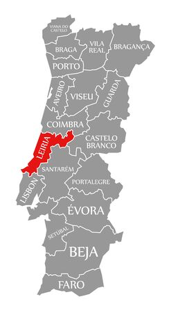 Leiria red highlighted in map of Portugal 写真素材