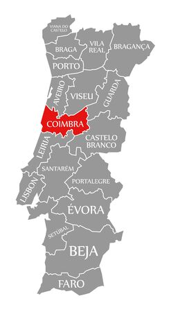Coimbra red highlighted in map of Portugal 写真素材