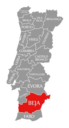 Beja red highlighted in map of Portugal