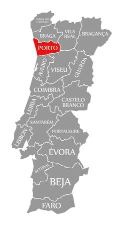 Porto red highlighted in map of Portugal